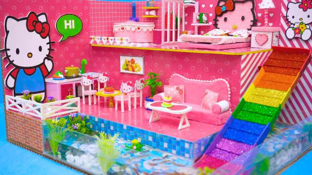 DIY迷你娃娃屋,凯蒂猫头像的大公寓