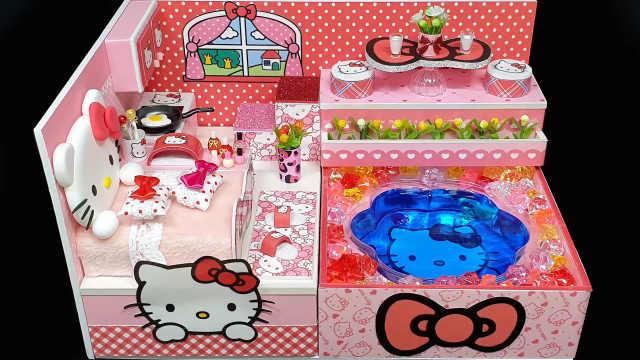 DIY迷你娃娃屋,凯蒂猫的蝴蝶结公寓
