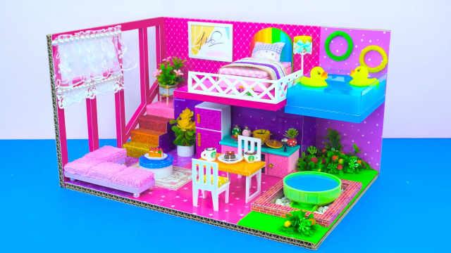 DIY迷你娃娃屋,两只小黄鸭的粉色别墅