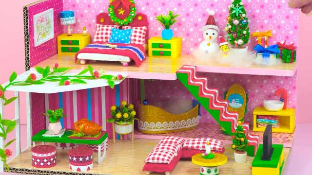 DIY迷你娃娃屋,小雪人的粉色星光别墅