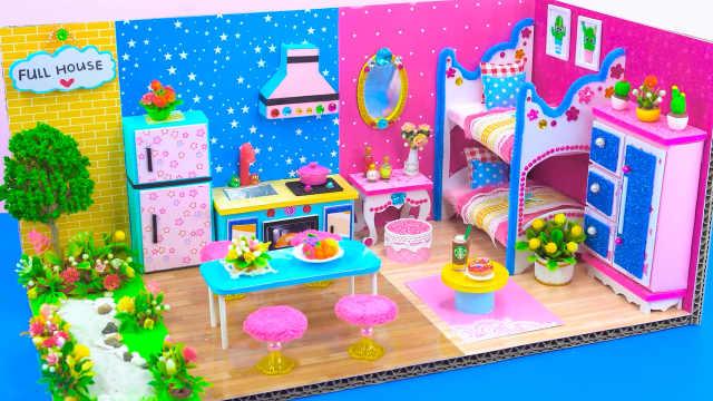 DIY迷你娃娃屋,长方形设计的小公寓