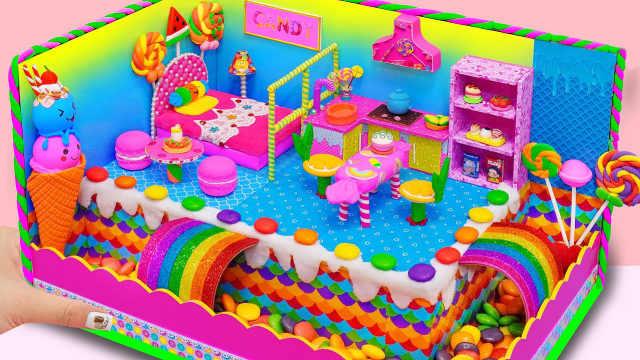 DIY迷你娃娃屋,冰淇淋和巧克力豆设计的糖果屋