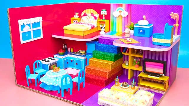 DIY迷你娃娃屋,大红色设计的天空公寓