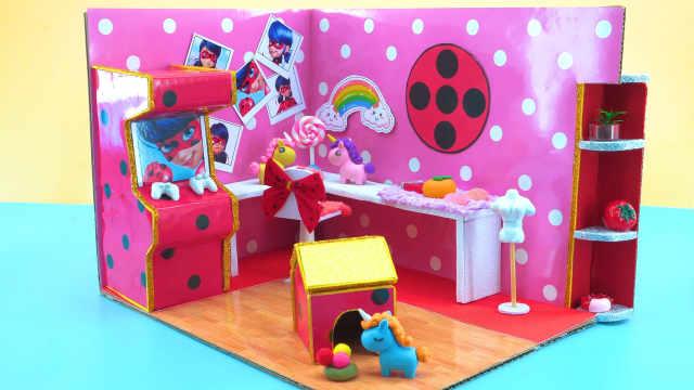 DIY迷你娃娃屋,瓢虫雷迪公主的游乐室