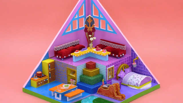 DIY迷你娃娃屋,法老王的金字塔小屋