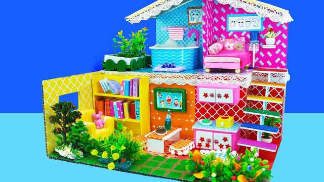 DIY迷你娃娃屋,小萌猫的绿色花园别墅