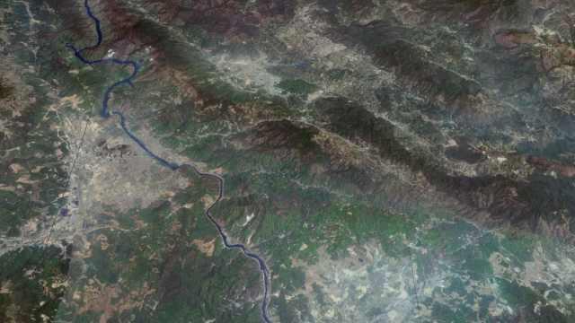卫星视野下亚洲象群北迁路线最新画面,地势复杂山高谷深