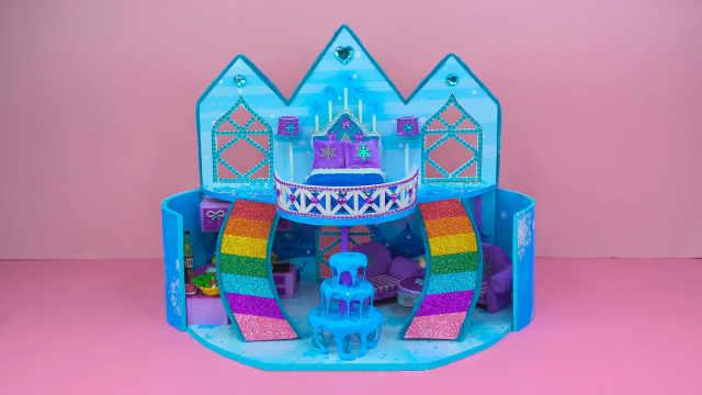 DIY迷你娃娃屋,蓝色皇冠的冰雪小屋