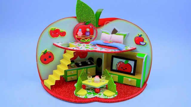 DIY迷你娃娃屋,温馨整洁的红苹果别墅