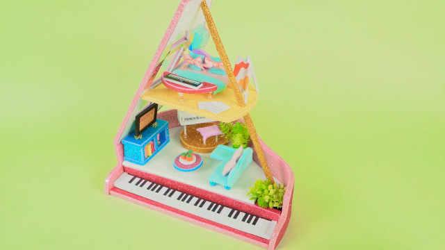 DIY迷你娃娃屋,可爱宝贝的钢琴小屋