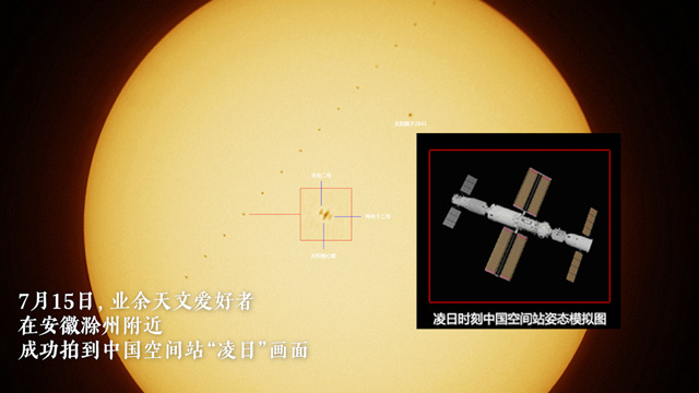 天文爱好者记录下中国空间站和太阳同框画面