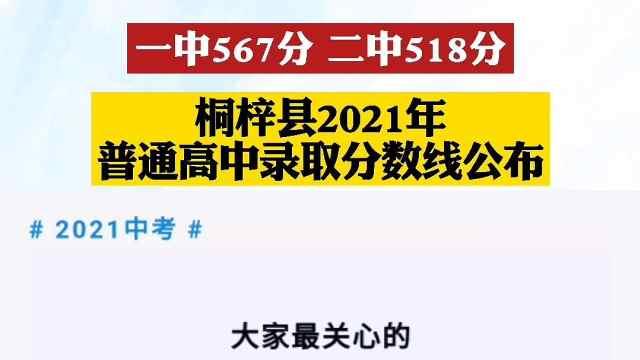 一中567分 二中518分,桐梓县2021年普通高中录取分数线公布