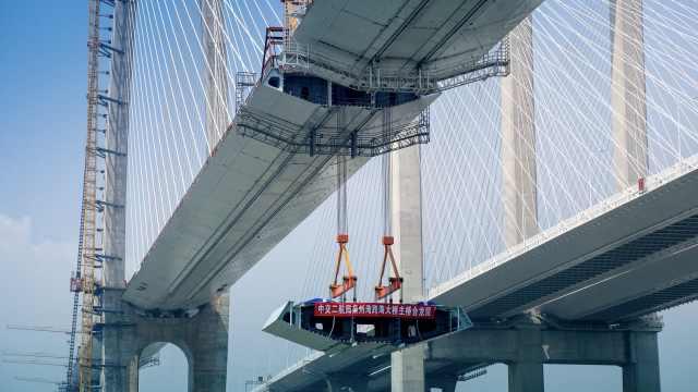 震撼!航拍泉州湾跨海大桥主桥合龙,系国内首条跨海高铁桥
