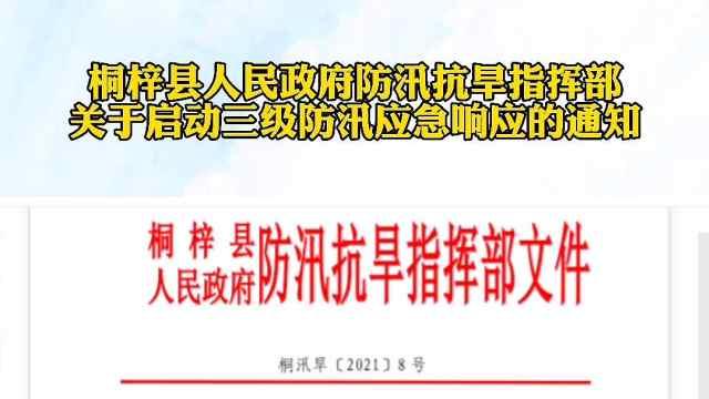 桐梓县人民政府防汛抗旱指挥部关于启动三级防汛应急响应通知