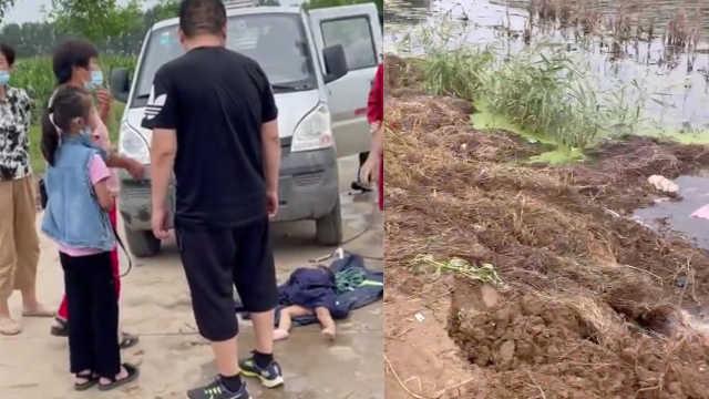 母女连人带车坠入3米深臭水沟,陌生父子数次潜水破窗救出