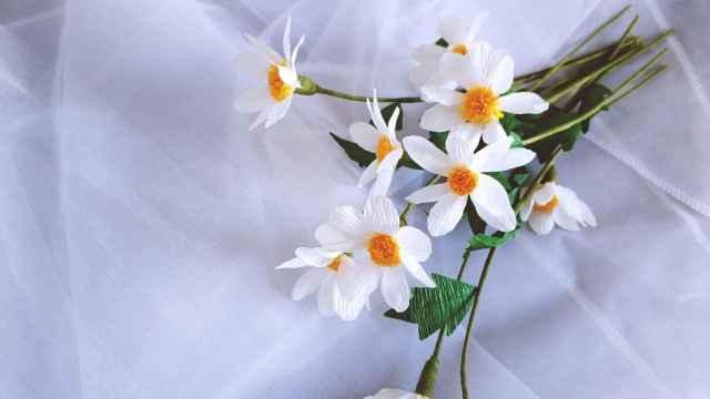 用皱纹纸做一束美丽的小雏菊