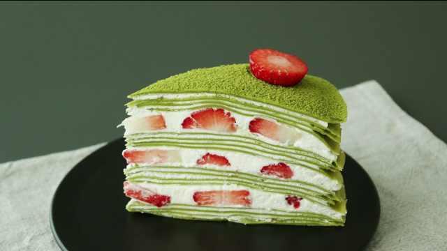 抹茶草莓千层蛋糕,我只想说赞!