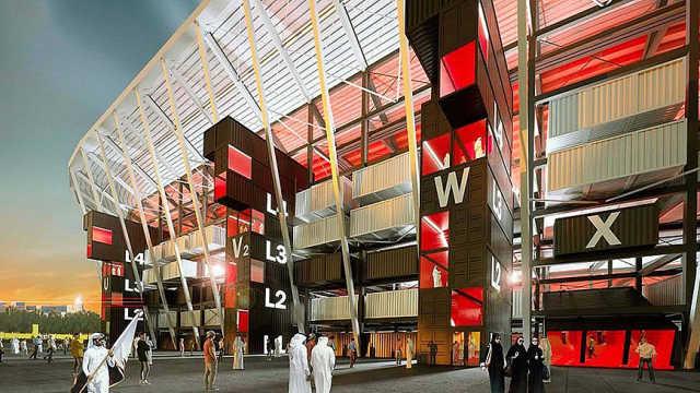 卡塔尔用集装箱做45万平球场!