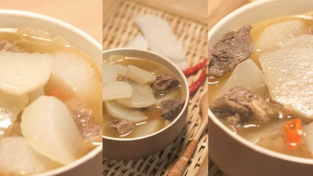清炖萝卜虾皮牛腩汤,满足心和胃!