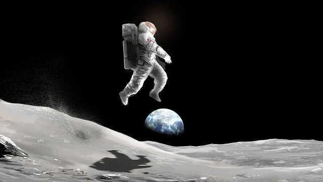 人在月球用力一跳,到底能跳多高?