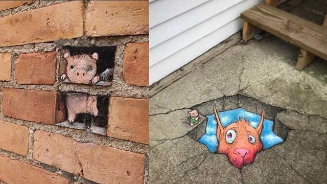 可爱街头涂鸦太逼真,可别踩到哦!