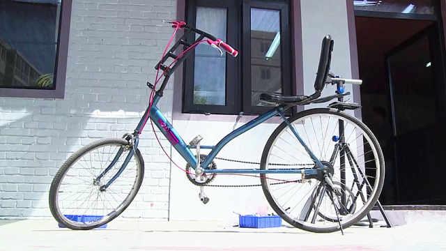 中国大叔发明的自行车,躺着也能骑