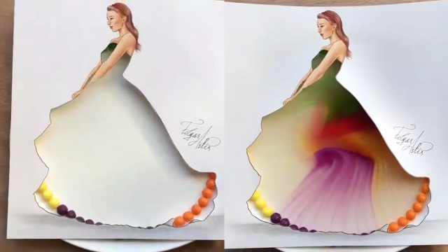 脑洞大开!彩虹糖加水成最美的裙子