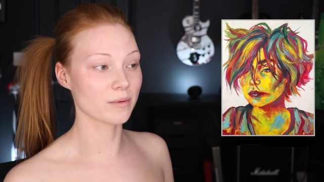 把自己化妆成印象派人物肖像画