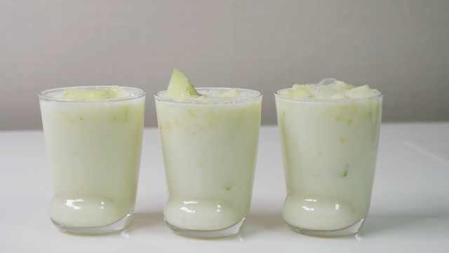 美味营养的牛奶甜瓜,自制水果饮品