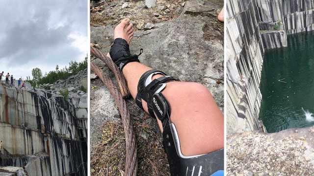 他挑战从悬崖跳下,双腿重伤缝29针