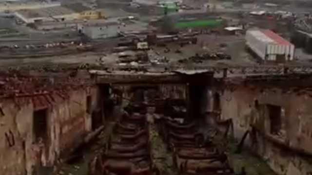 航拍前苏联监狱,断垣残壁场面壮观
