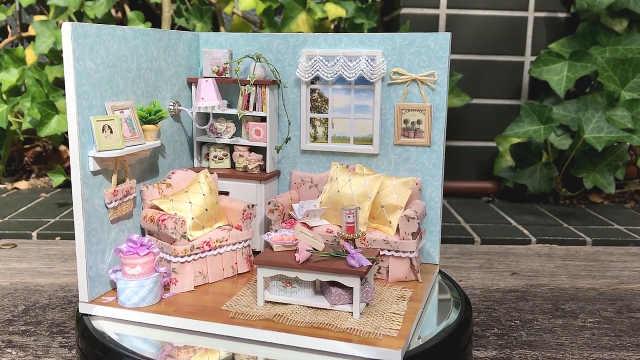 DIY迷你娃娃屋,浪漫的幸福小客厅