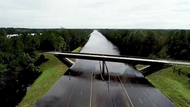 飓风过后美国州际公路变河流