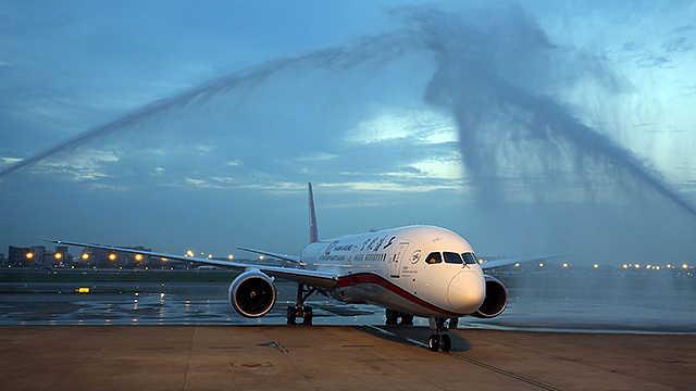 上海航空787-9过水门仪式