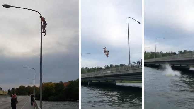 瑞典粗鲁男子爬路灯,后跳河引围观