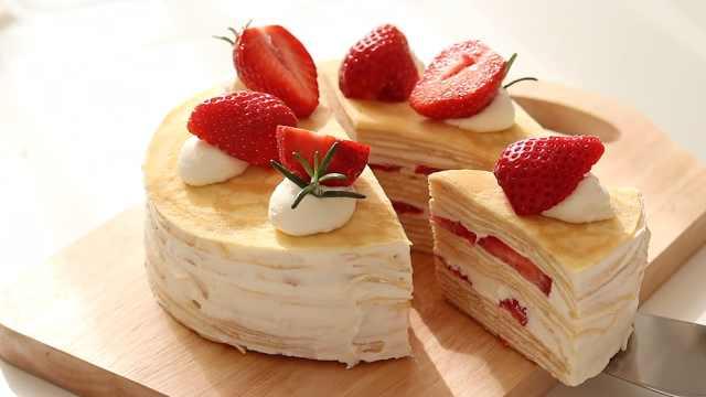 甜美爽口的草莓千层蛋糕