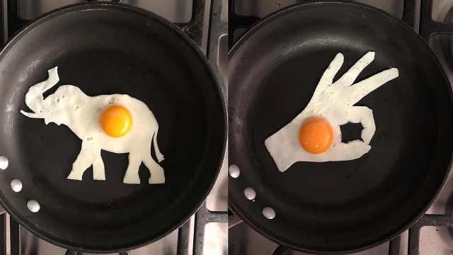 医学院学生用煎蛋创作艺术