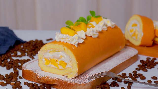 一分钟学做零失败的芒果奶油蛋糕卷