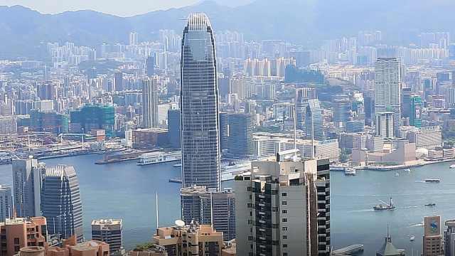 俯瞰香港维多利亚港绝佳地太平山顶