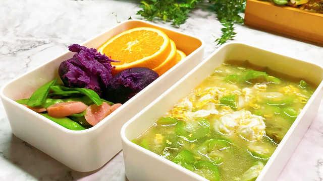 丝瓜鸡蛋汤配清炒荷兰豆,超清淡!