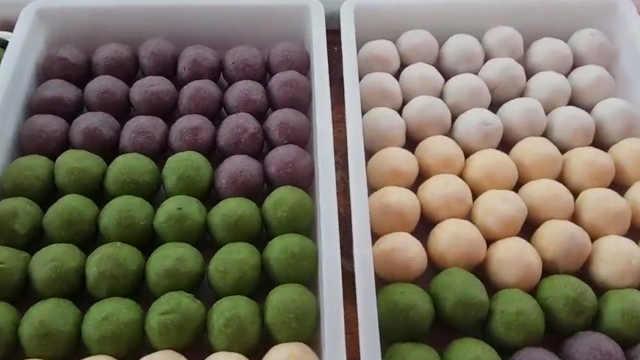 仙桃养生米团子:四种颜色10种馅料