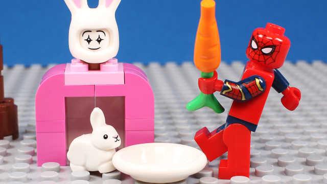 玩具蜘蛛侠给可爱的兔子拼收容所